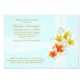 Luz tropical das flores - o chá de panela azul convite 12.7 x 17.78cm