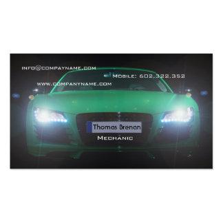 Luz verde automotriz da noite do carro do mecânico cartão de visita
