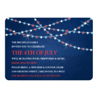 Luzes 4ns da corda da estrela de convites de julho