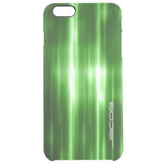 luzes brilhantes abstratas verdes personalizadas capa para iPhone 6 plus transparente