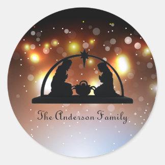 Luzes da cena da natividade - etiqueta do Natal
