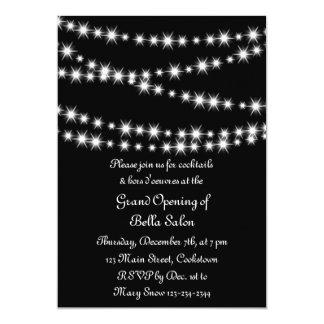 Luzes da cintilação da grande inauguração (preto) convites personalizados