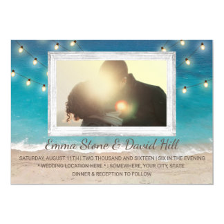 Luzes da corda do casamento de praia com foto convite 12.7 x 17.78cm