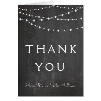 Luzes da corda em cartões de agradecimentos do