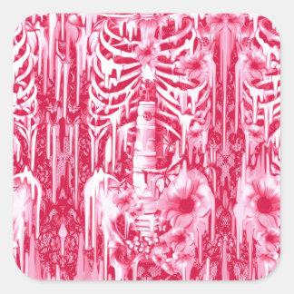 Luzes de néon. Papoilas do rosa quente e esqueleto Adesivo Quadrado