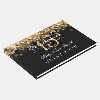 Luzes do ouro de Quinceanera do livro de hóspedes