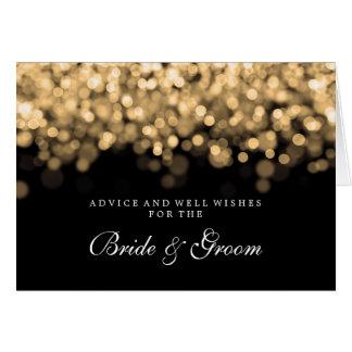 Luzes do ouro do cartão do conselho do casamento