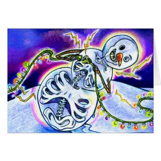 Luzes elétricas em cordas cartão comemorativo