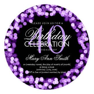 Luzes Sparkling do aniversário de 40 anos elegante Convite Quadrado 13.35 X 13.35cm