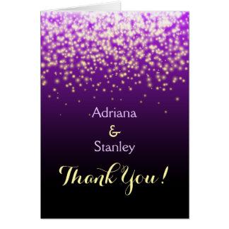 Luzes sparkling roxas que wedding o obrigado você cartão de nota