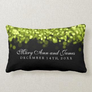 Luzes verdes do favor elegante do casamento travesseiros
