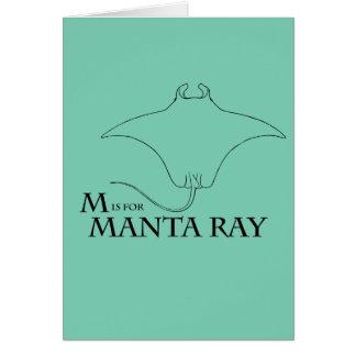 M é para o cartão do raio de Manta