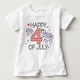 Macacão Para Bebê 4o feliz do Romper da criança de julho
