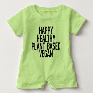 Macacão Para Bebê A planta saudável feliz baseou o Vegan (o preto)