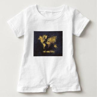 Macacão Para Bebê amarelo preto do mapa do mundo