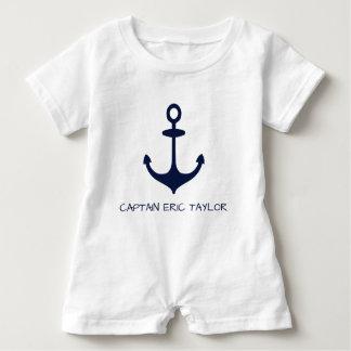 Macacão Para Bebê Âncora náutica personalizada dos azuis marinhos