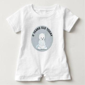 Macacão Para Bebê Aniversário branco bonito personalizado do urso
