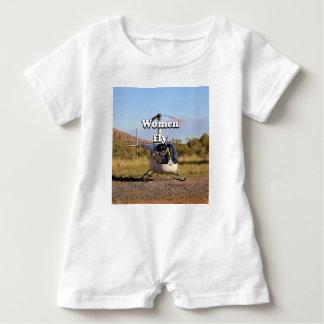 Macacão Para Bebê As mulheres voam: Helicóptero 2 (brancos)