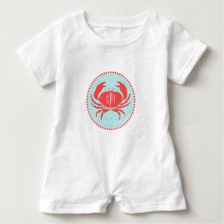 Macacão Para Bebê Azul Monogrammed+ Romper vermelho do caranguejo