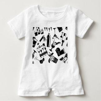 Macacão Para Bebê Bar preto do cocktail do teste padrão