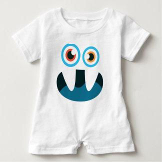 Macacão Para Bebê Boca aberta da cara azul bonito engraçada do