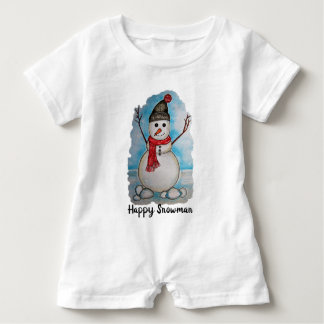 Macacão Para Bebê Boneco de neve lindo da aguarela com lenço e
