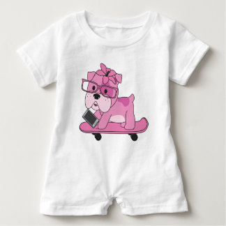 Macacão Para Bebê Buldogue cor-de-rosa do hipster