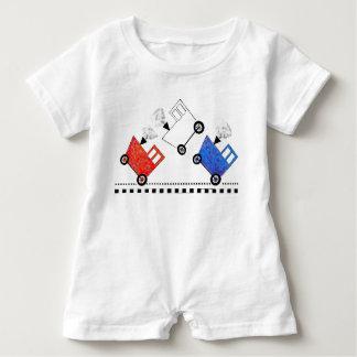 Macacão Para Bebê Caboose branco e azul vermelho do trem
