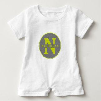 Macacão Para Bebê Chevron cinzento + Romper verde do monograma