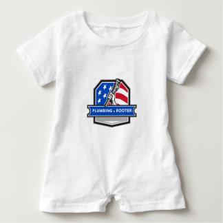 Macacão Para Bebê Crista da bandeira dos EUA da chave de tubulação