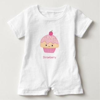 Macacão Para Bebê Cupcake, sabor da morango
