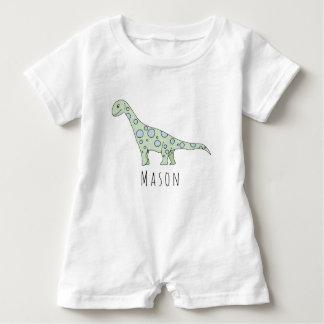 Macacão Para Bebê Dinossauro personalizado do Doodle do bebé com