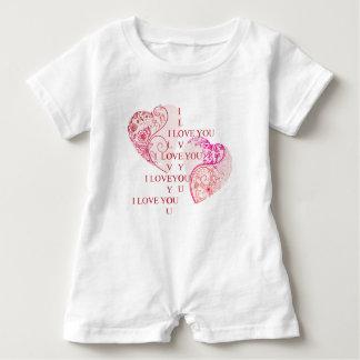Macacão Para Bebê Dois corações - eu te amo