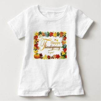Macacão Para Bebê Folhas coloridas da acção de graças feliz do