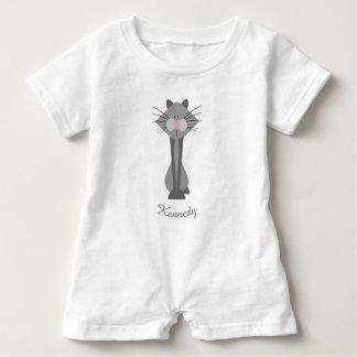 Macacão Para Bebê Gato cinzento bonito