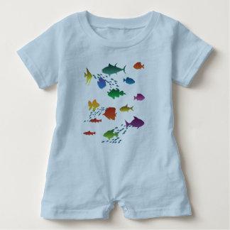Macacão Para Bebê Grupo colorido de peixes subaquáticos
