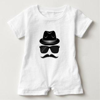 Macacão Para Bebê Hipster legal com bigode, chapéu e óculos de sol