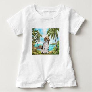 Macacão Para Bebê Lebreiro na praia tropical das férias