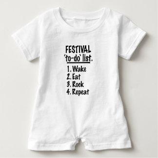 Macacão Para Bebê Lista do tumulto do ` do festival' (preto)