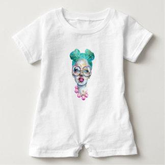 Macacão Para Bebê Menina com arte Funky do Watercolour dos vidros