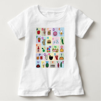 Macacão Para Bebê O alfabeto de ABC que aprende alimentos felizes