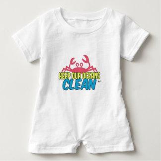 Macacão Para Bebê O ambiente mantem nosso slogan limpo dos oceanos