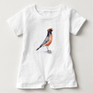 Macacão Para Bebê Pássaro do pisco de peito vermelho no chapéu