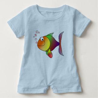 Macacão Para Bebê Peixe dourado alegre no mar