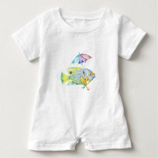Macacão Para Bebê Peixes do anjo com guarda-chuva