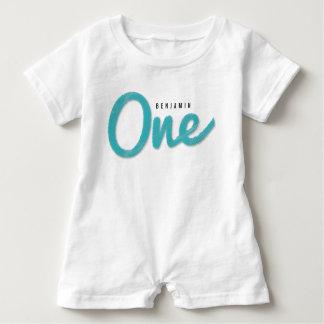 Macacão Para Bebê Primeira festa de aniversário do bebé azul grande