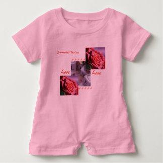 Macacão Para Bebê Romper cor-de-rosa da menina do amor