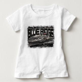Macacão Para Bebê T-shirt azul do Romper do bebê de Ridge do navio