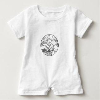 Macacão Para Bebê Tatuagem do círculo da montanha do astronauta do
