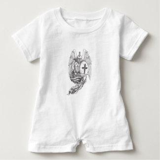 Macacão Para Bebê Tatuagem espartano do rosário do protetor do anjo